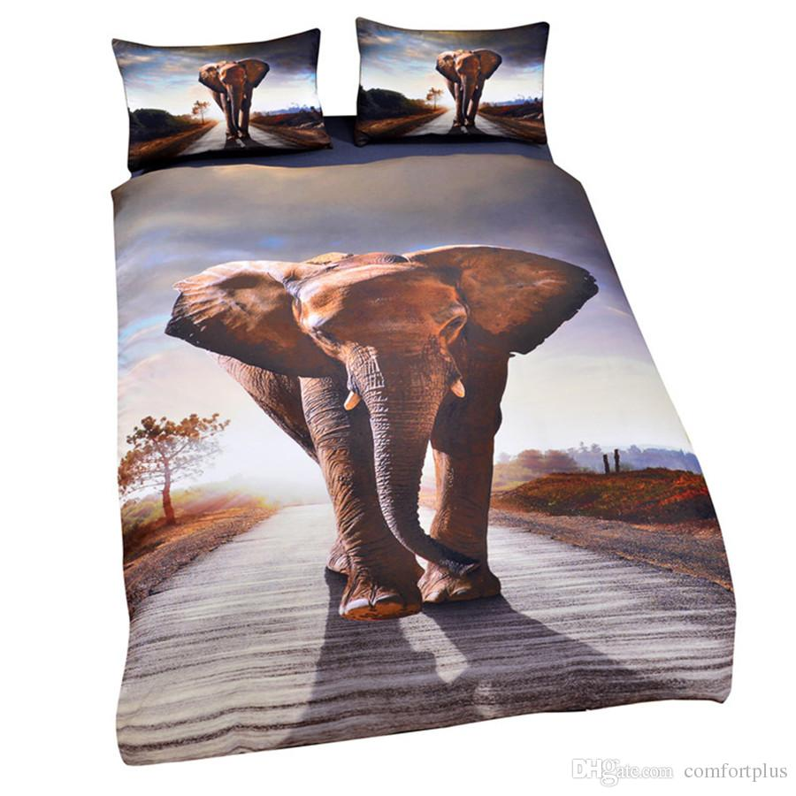 3D Animal Design Bedding Set Of 3PC Owl Wolf Elephant Duvet Cover Set Quilt Cover With Pillowcase Twin Full Queen King Size 7 Designs