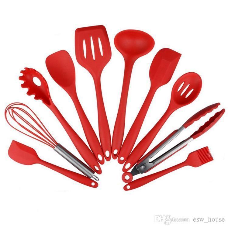 Set di utensili da cucina da 10 pezzi set da cucina in silicone cucchiaio resistente al calore pala spatola spatola antiaderente strumenti di cottura in silicone facile da cucinare