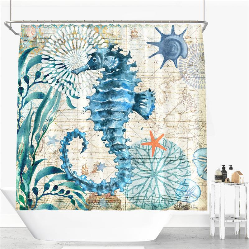 2019 Printed Shower Curtain Mildew Moisture Proof Sea Turtle Hippocampus Crab Whale From Promiseone 259