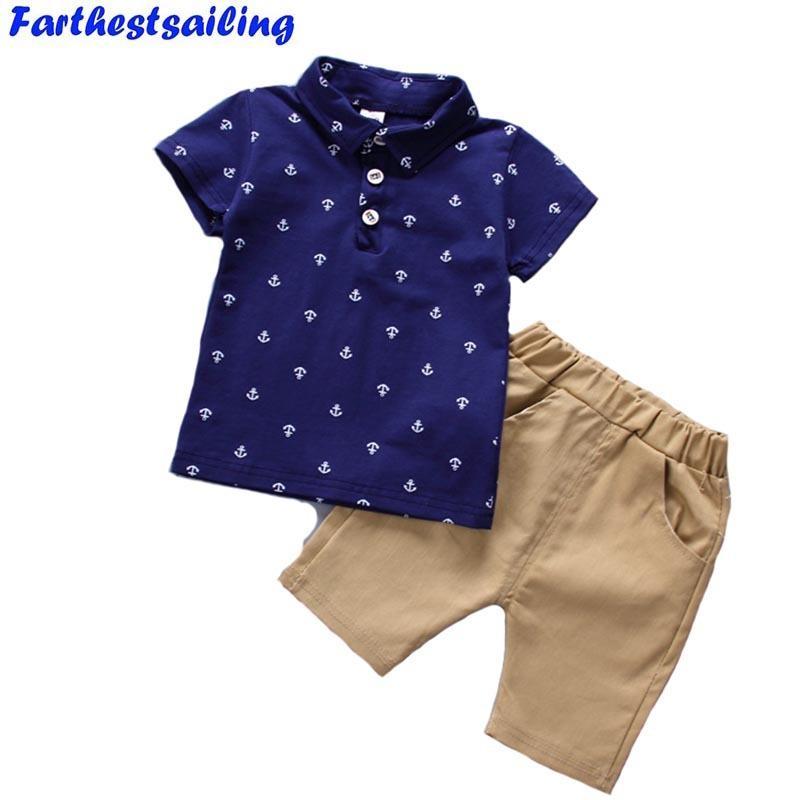 Compre 2018 Verano Nueva Moda Infantil Bebé Niños Ropa Set Algodón Niños  Ropa Conjunto Camisetas + Pantalones Cortos Recién Nacido Traje De Bebé  Deporte 1 5 ... e9690c77f682