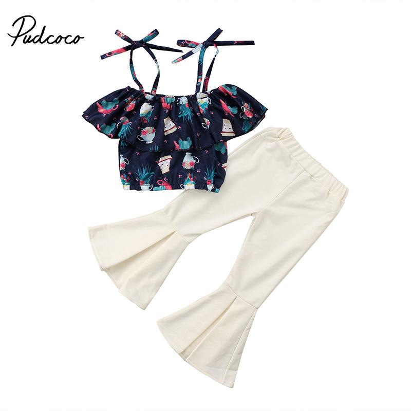 036a7135ee3f48 2019 2018 Fashion Kids Girl Summer Clothes Off Shoulder Cape Collar Floral  Crop Tops+High Waist Bell Bottom Trouser Children Set Y1892605 From  Shenping02