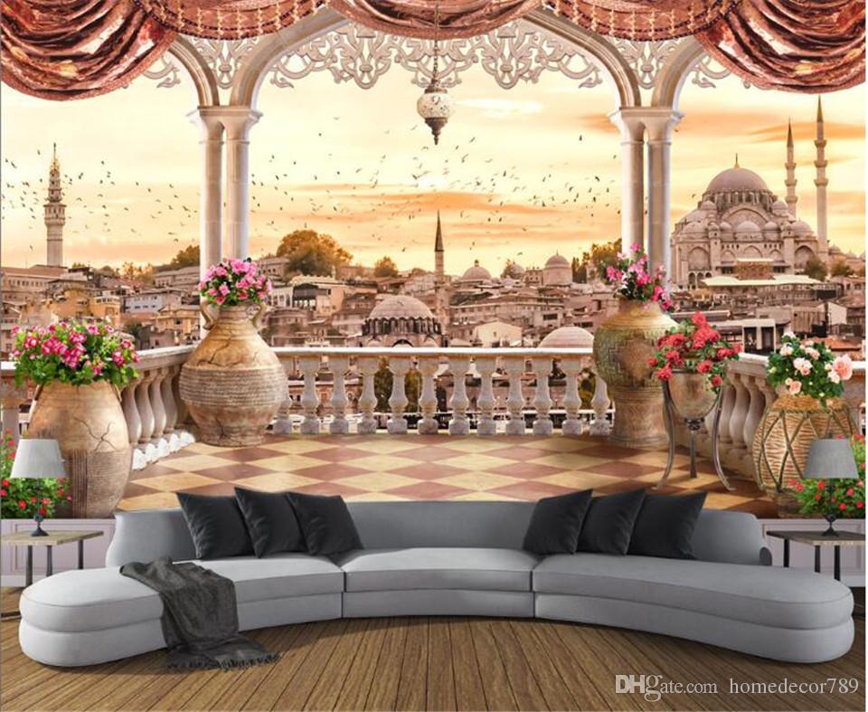Custom Large Modern 3d Non Woven Mural Wallpaper Balcony Turkish