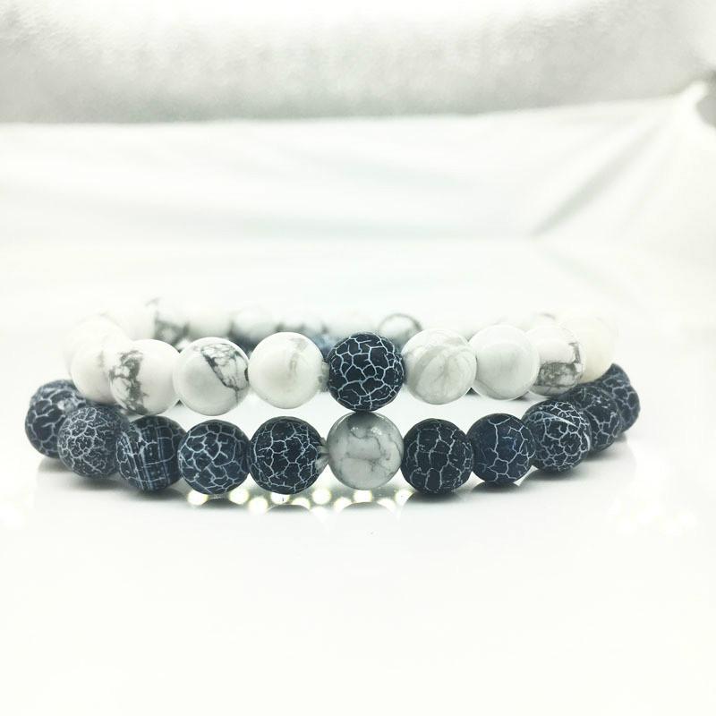 Bijoux, montres 2 pcs/set distance Couple Bracelet Charms Yoga Méditation Bracelets Pour Hommes Femmes