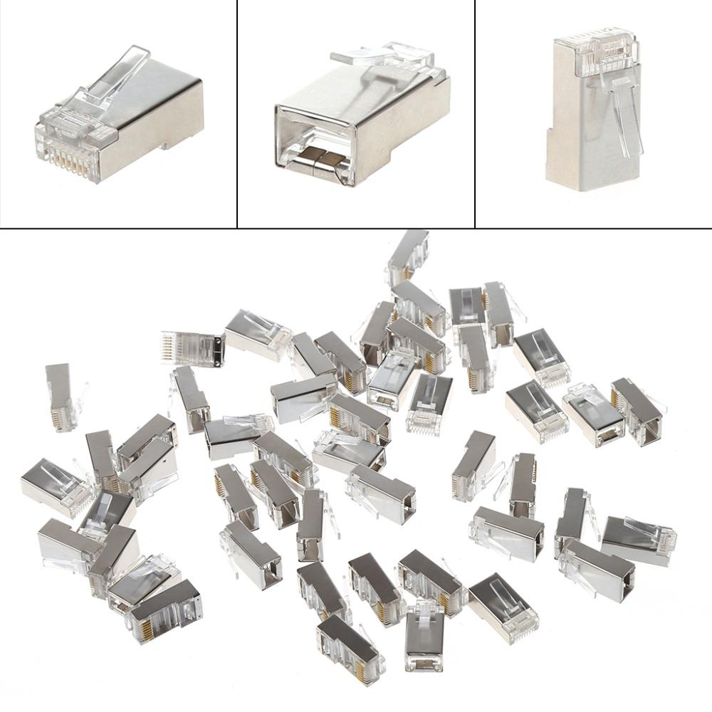 50 Metal Cat5 Rj45 8 Pin Shielded Modular Plug Ethernet Network Connector Pinout Diagram Cable Connectors Set High Quality Ccables And Computer Cables