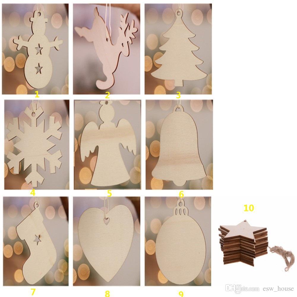 10 pezzi / lotto romantico fiocco di neve stella di babbo natale campane campane albero di natale appeso ornamenti in legno partito decorazioni natalizie la casa