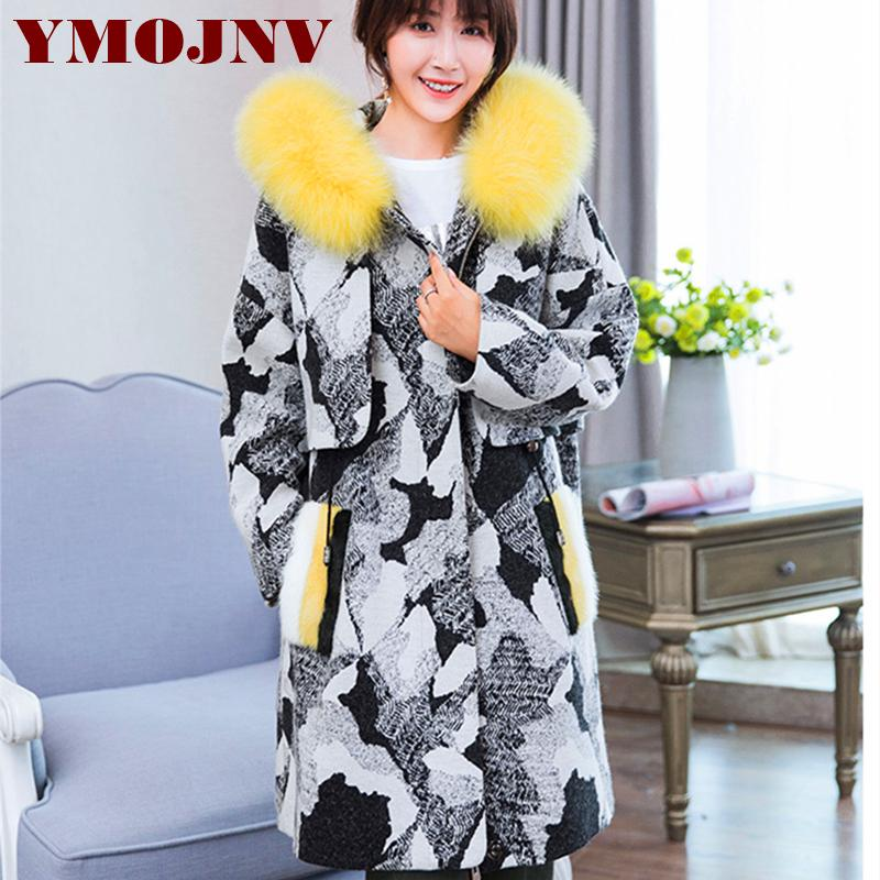 dad49aacd The fox fur cap of new fund of 2018 autumn winters tweed female long fur  coat sheep inside the coat