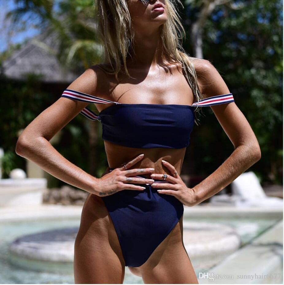Bandeau bikini traje de las mujeres empuja hacia arriba el conjunto de los bikinis de talle alto Sport traje de baño de las niñas vendaje del bañador Maillot De Baño 930