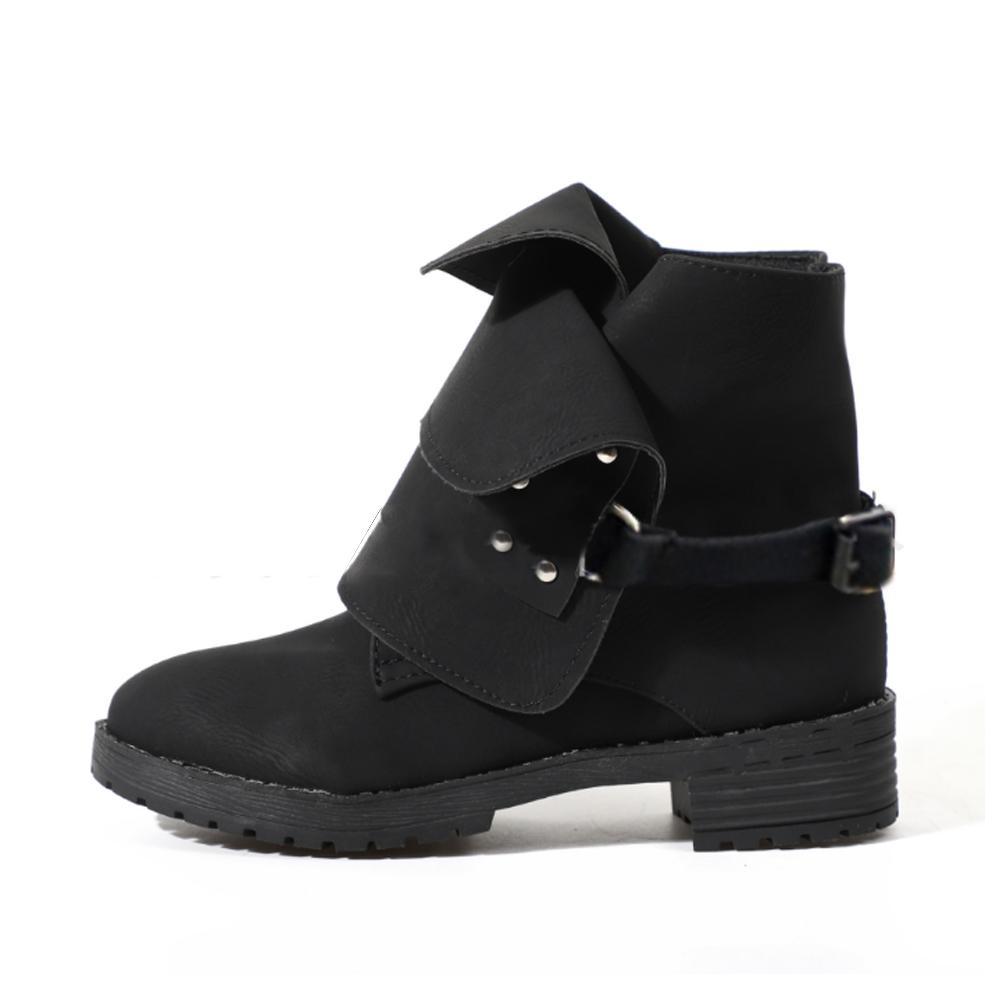 1767ff8dc Compre Cuero Retro 2018 Mujer Martin Boot Moda Otoño Invierno Zapatos  Feminina Mujer Motocicleta Botines Para Mujer Botas Mujer A  41.8 Del  Bidashoes ...