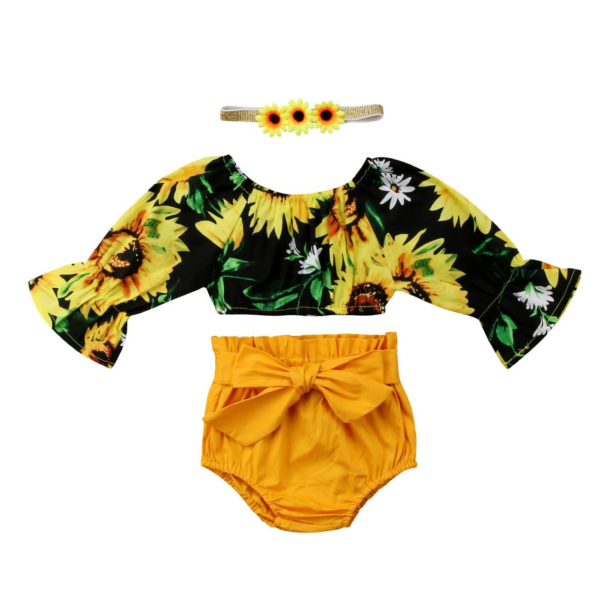 New Toddler Infant Child Girl Kid Floral Crop Tops PP Pants Headband 3Pcs Outfits Set Sun Flower Sunsuit Clothes 1-6T