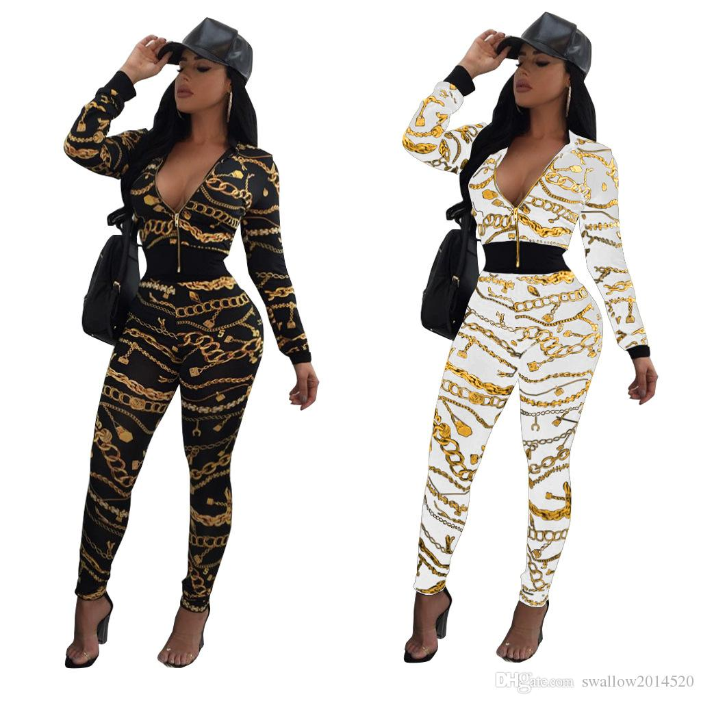 97cc1cad97fc5 2018 New Autumn Fashion 2 Piece Set Women Sweatsuits Casual Printed  Tracksuit Set Long Sleeve Cropped Jacket and Long Pants