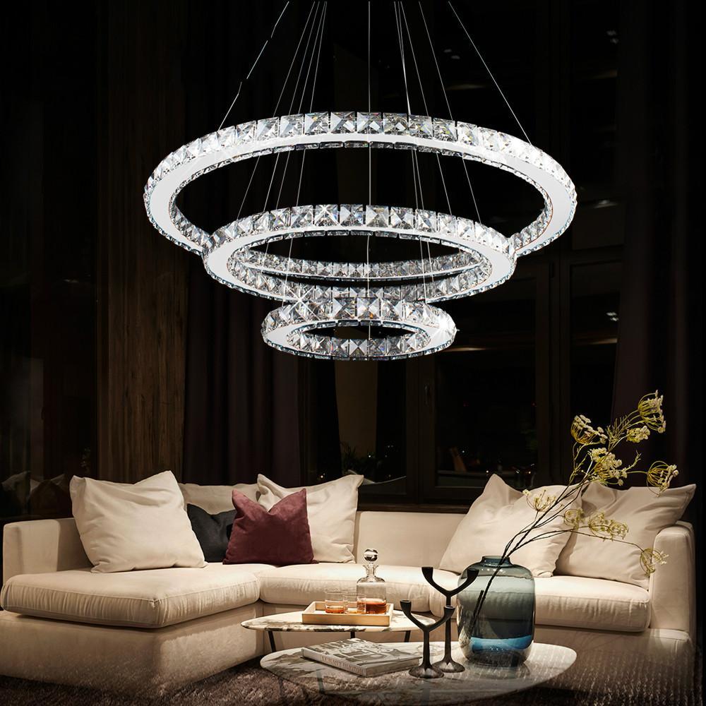 Led kristall kronleuchter moderne ring hängen küche lampe 3/2/1 kreis  esszimmer wohnzimmer leuchte
