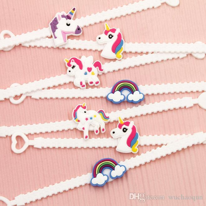 Pawliss Bracelets Wristband Unicorn Birthday Party Favors Supplies for Kids Girls Emoticon Toys Prizes Gifts Rubber Band