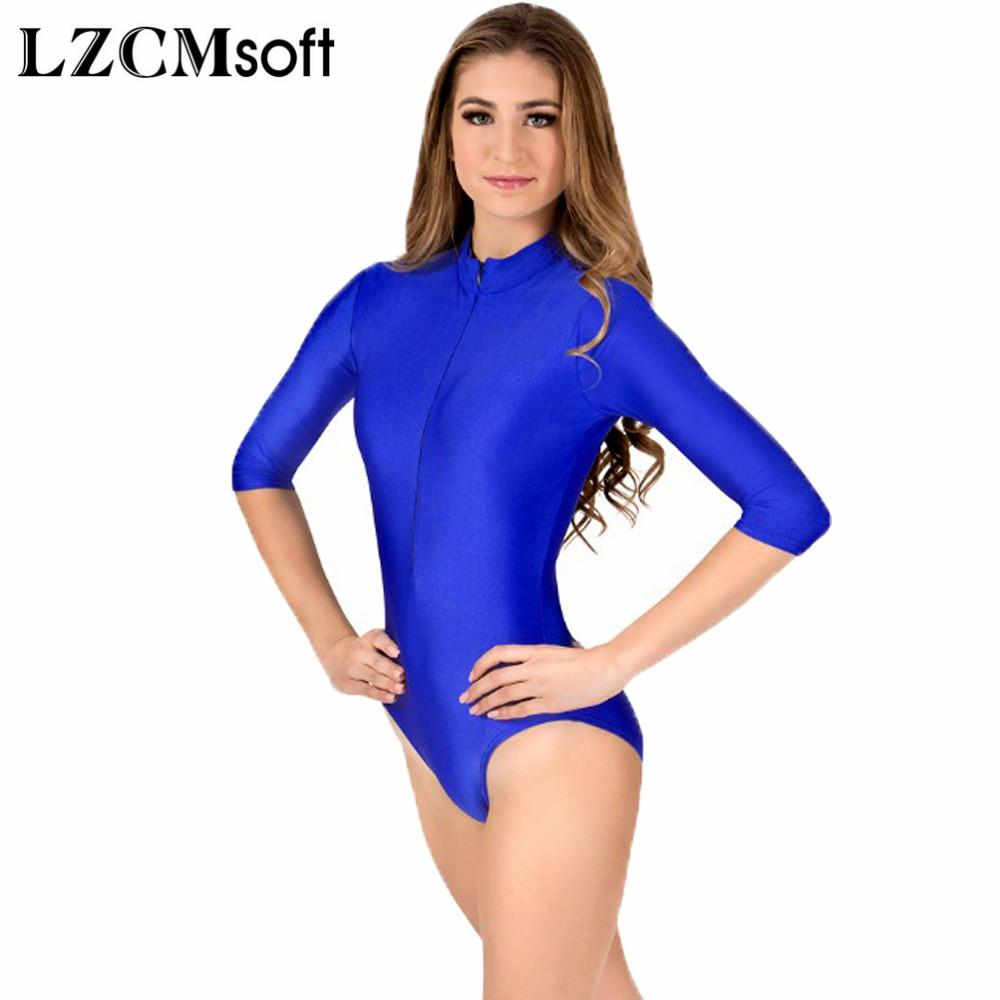 767307dc7cf8 2019 LZCMsoft Women Sexy Royal Blue 3/4 Long Sleeve Ballet Dance Gymnastics  Leotards Lycra Spandex One Piece Short Unitards Dancewear From Ppkk, ...
