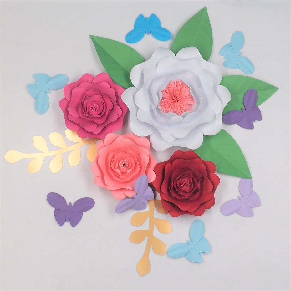 2018 of 4 large paper flowers 6 leaves 8 butterflies wedding 2018 of 4 large paper flowers 6 leaves 8 butterflies wedding backdrop baby shower baby nursery bridal shower deco mix sizes from fivestarshop izmirmasajfo