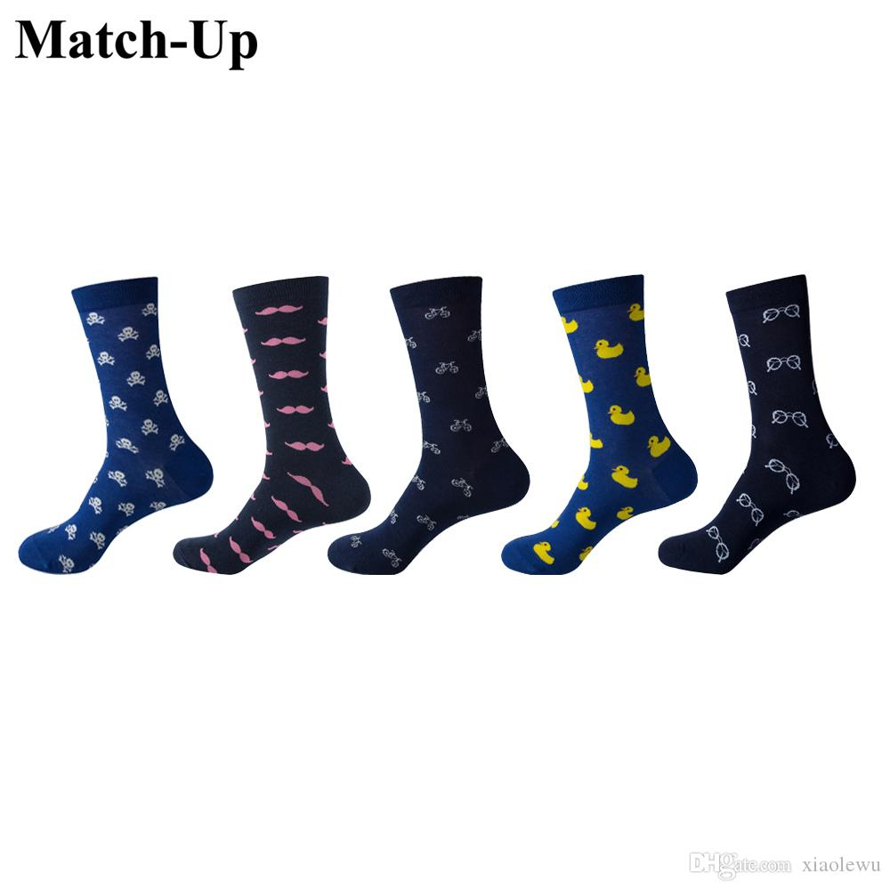 Match-Up Men Cartoon Cotton Socks Art Patterned Casual Crew Socks 5-Pack Shoe Size 6-12