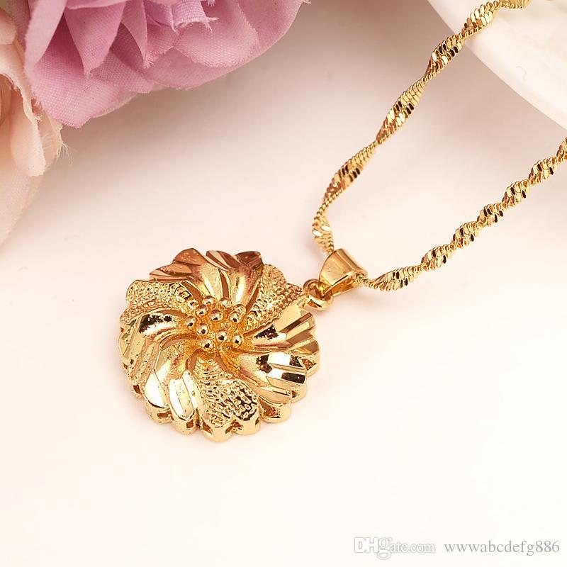 Dubai pingente colar mulheres etíope colar de pingente de 9 k ouro amarelo real meninas gf partido jóias africa / árabes presentes da flor