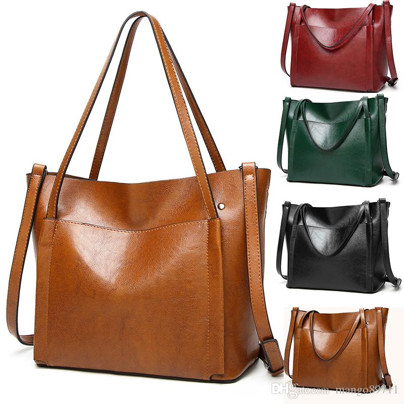 05e4329f344 Women Shoulder Bags 2018 Fashion Women Handbags Oil Wax Leather Large  Capacity Tote Bag Casual Pu Leather Messenger bag