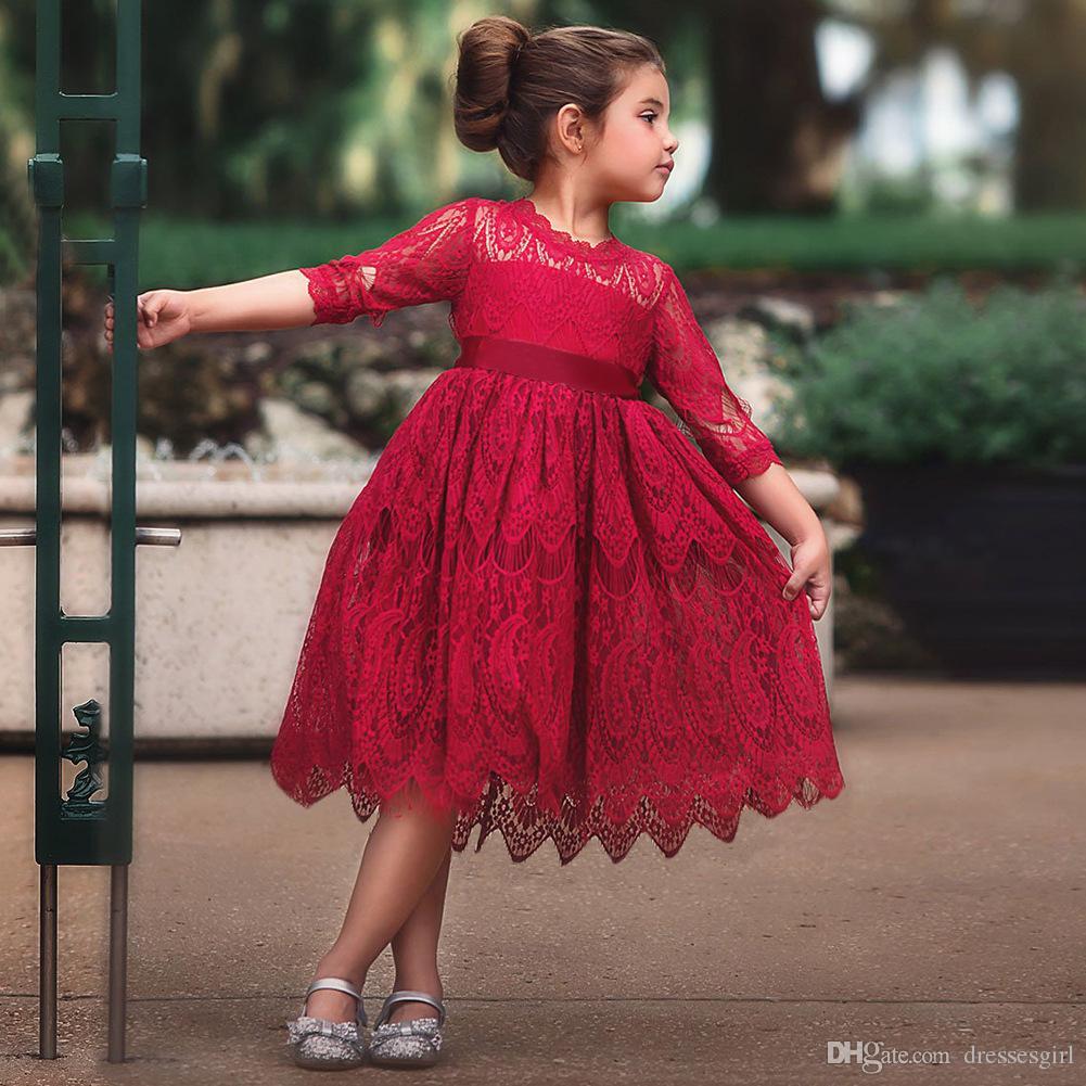 Baratos Flor Meninas Vestidos de Renda Completa Formal Crianças Vestem Para Festa Frete Grátis Vestidos Da Criança MC1679