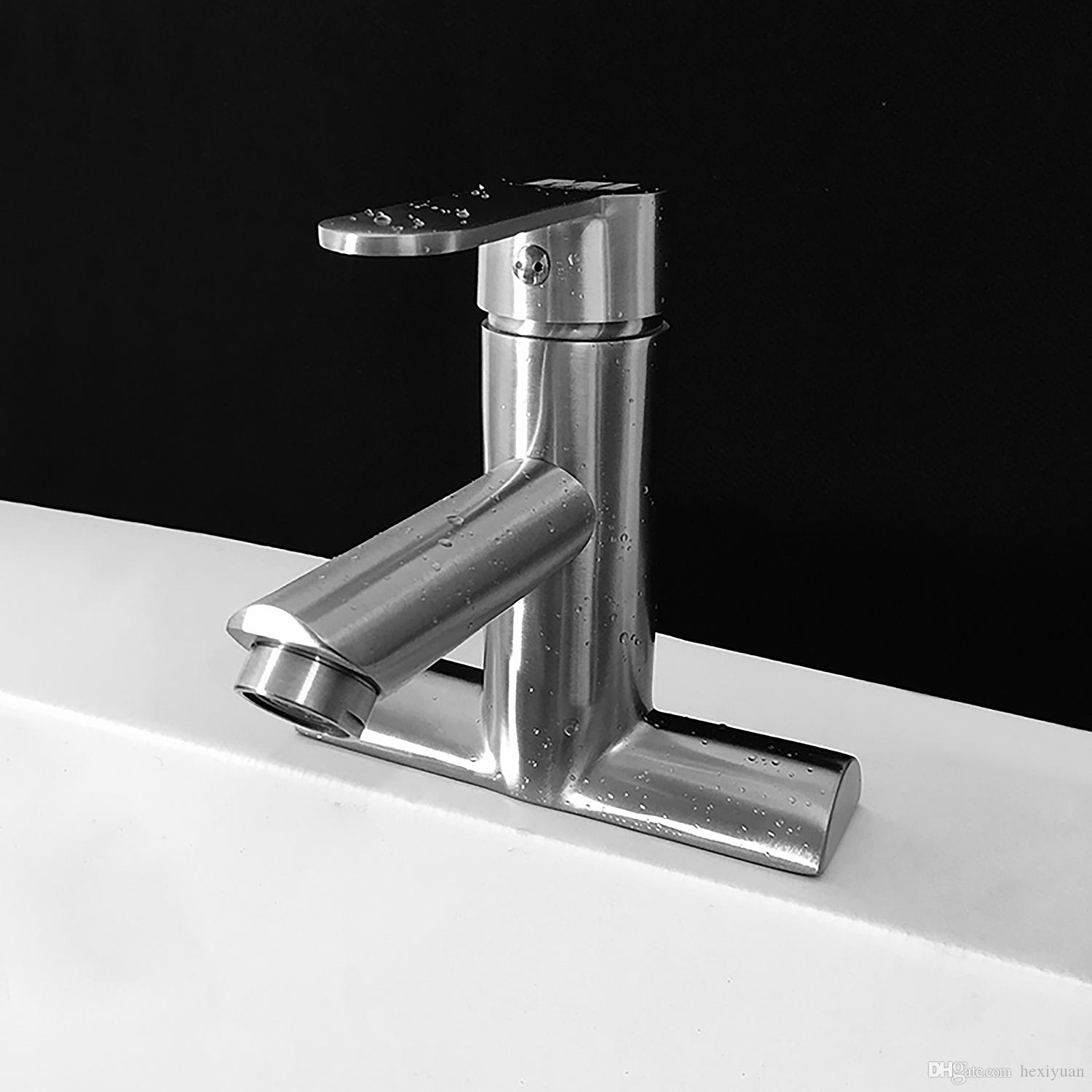 2018 304 Stainless Steel Basin Faucet Single Handle Bathroom Hot And ...