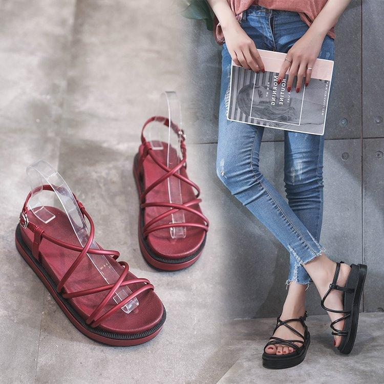Gladiator Leisure Shoes Sandals Cover Women Mature Concise Soled Summer Rome Fashion Thick Heel vNn80Omw