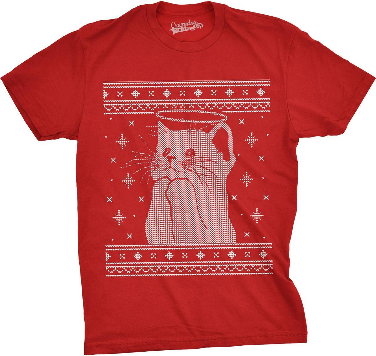 Mens Halo Kitty Ugly Christmas Sweater Funny Kitten Holiday T Shirt