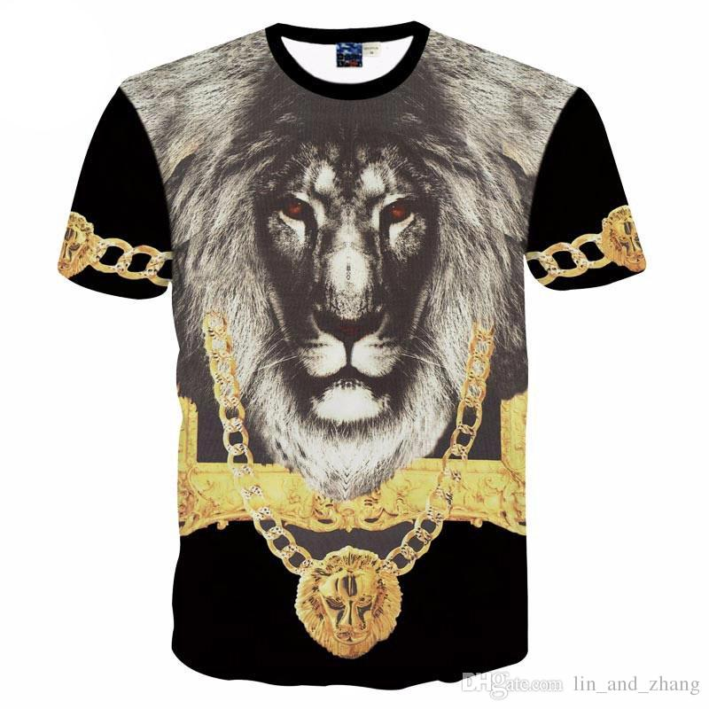 cdb2ec5c 3D T shirts men's 3d t-shirt short sleeve printing The Lion King with Gold  medal 3d Tshirt for men creative Tops tees MDT28