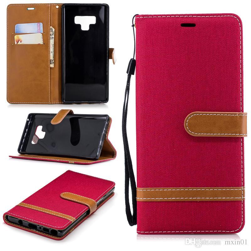 Custodia a portafoglio in pelle ibrida a portafoglio con retro jeans flip denim iPhone X XR XS Max 8 7 6 Samsung S7 S8 S9 Plus Nota 9 J2 Pro A6 A8 J4 J6 2018