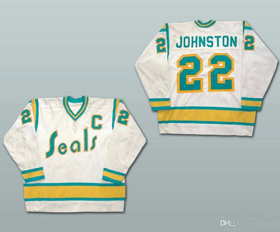 9ee11815d  22 Joey Johnston California Golden Seals White Green Yellow Ice Hockey  Jersey Mens Stitched Custom Any Number And Name Jerseys UK 2019 From  Yufan4