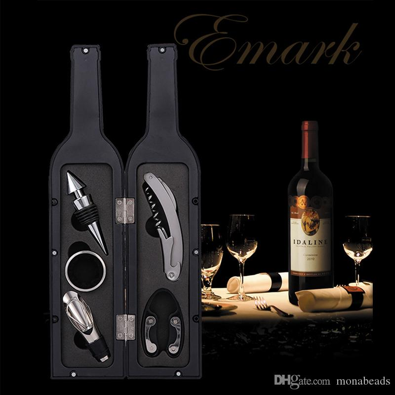 Wine Opener Set Bottle Opener Stopper Drip Ring Wine Pourer 5Pcs/ set Home  Bar Supplies Stainless Steel Wine Bottle Opener