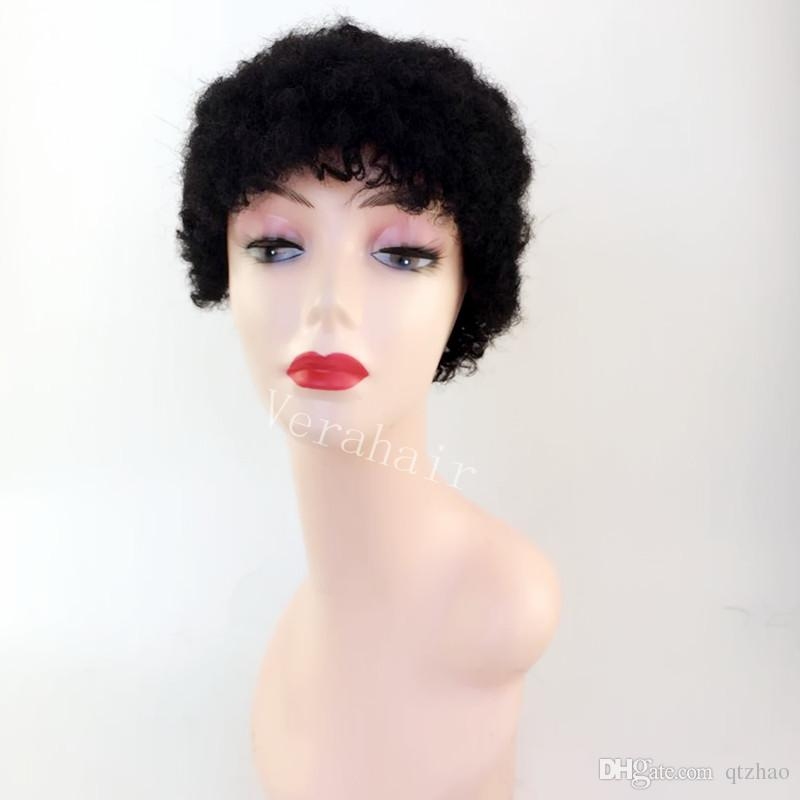 Human hair pixie cut None lace wigs Afro kinky Curly Glueless Cap 1B#/2# Indian Remy Human Hair Machine Made Wig For Black Women In Stock