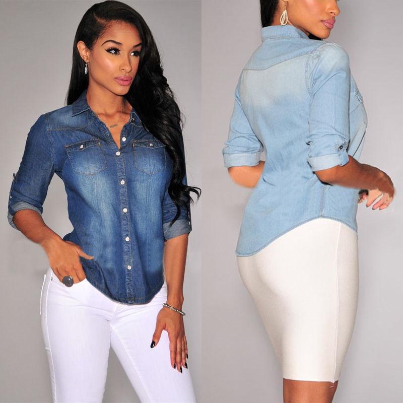 Formale Donna Lunga Lavoro Manica Camicia Casual Acquista Moda Jeans L3q54AcRj