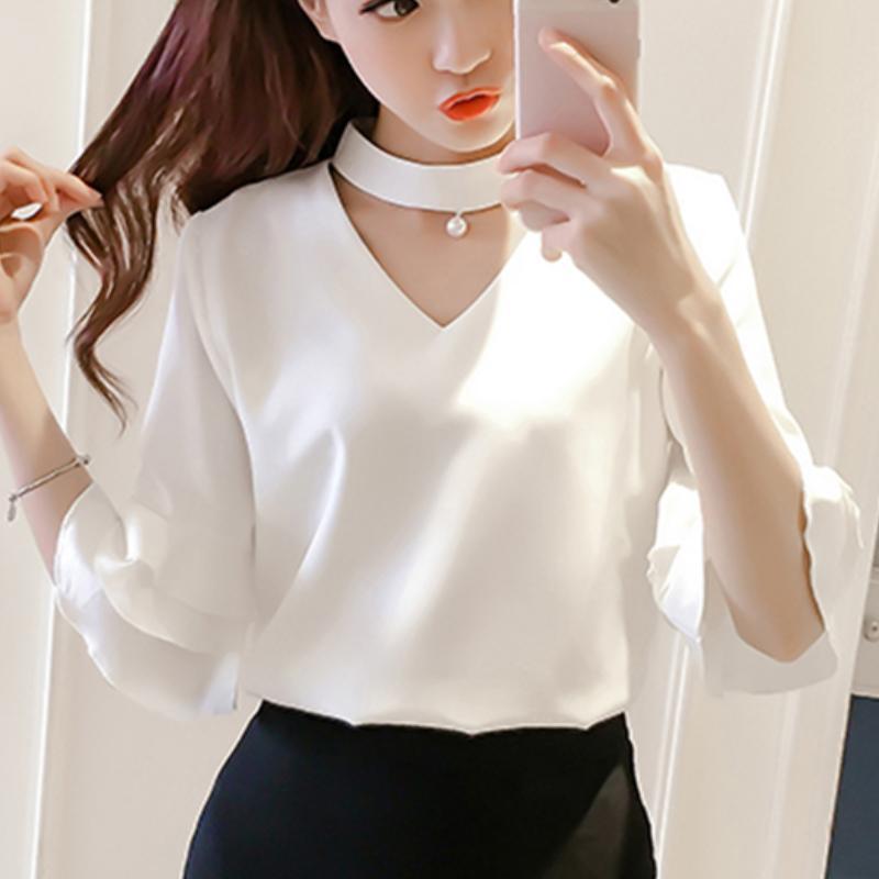 Compre Tops Das Mulheres E Blusa 2018 Chiffon Coreano Moda Roupas Femininas  De Verão Roupas Femininas Camisa Blusas Femininas Senhoras Novo 016 De ... 63c8fb76c3f