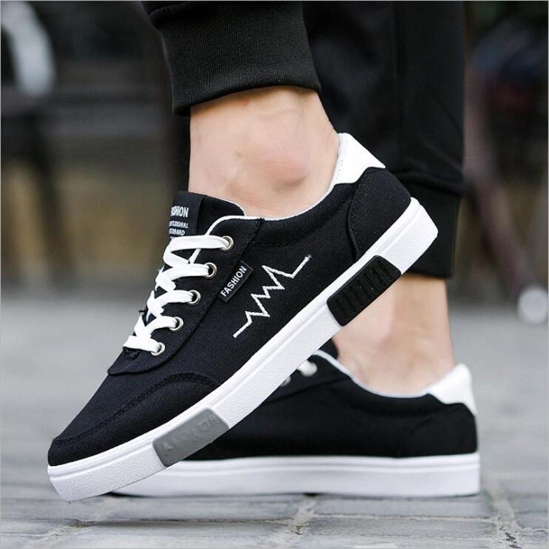 e12f4c839c5 New 2018 Spring Summer Canvas Shoes Men Sneakers Low top Black Shoes Men s  Casual Shoes Male hot Fashion Sneakers