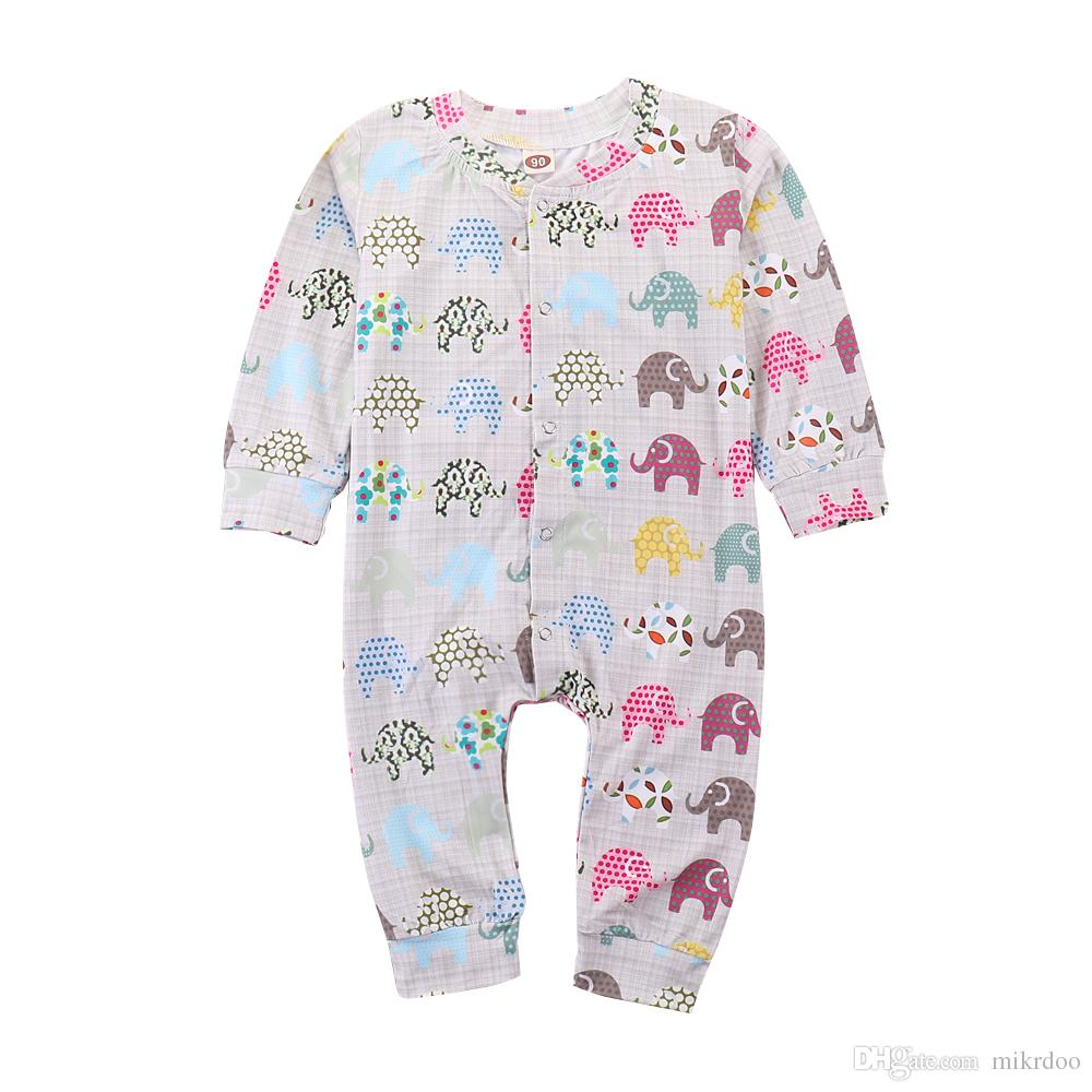 cc9950a4e1a9 2019 Mikrdoo New Arrived Kids Baby Boys Girls Clothes Colorful Elephants  Printed Long Sleeve Romper Fashion Jumpsuit Clothing From Mikrdoo