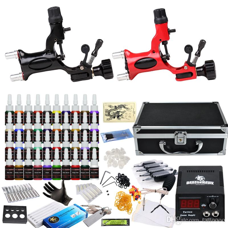 Professional Complete Tattoo Kits 2 Rotary Motor Machines Guns ...
