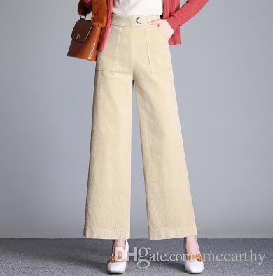 da5c3509d2fd1 2019 Corduroy Capris Casual Wide Leg Pants Women Ealstic Waist Plus Size  Black White Red Pink Purple Brown Autumn Spring Cok0801 From Mccarthy