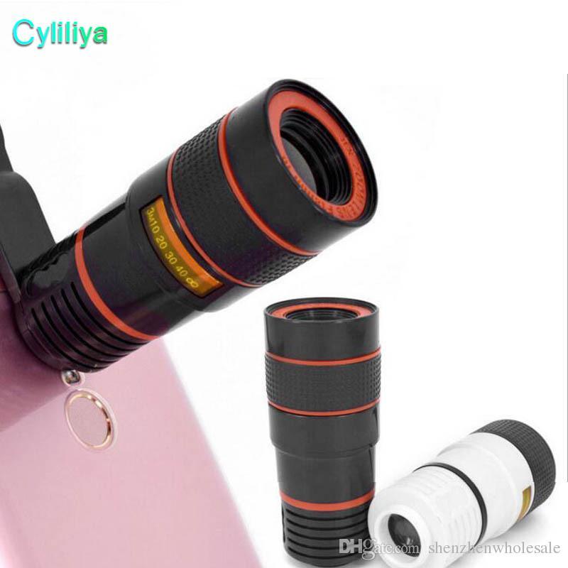 8x zoom telefone óptico telescópio celular portátil telefoto lente da câmera e clipe para iphone telefone inteligente