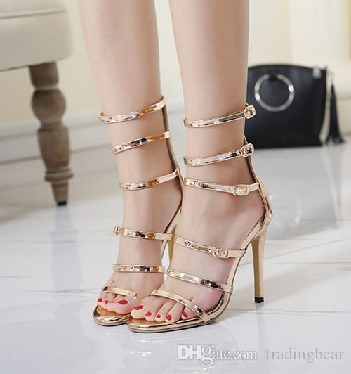 5765890a3fb 11cm Sexy Multi Strappy Small Buckle High Heel Gladiator Sandals Ladies  Summer Champagne Gold Black Heels Size 34 To 40 Chaco Sandals Jack Rogers  Sandals ...