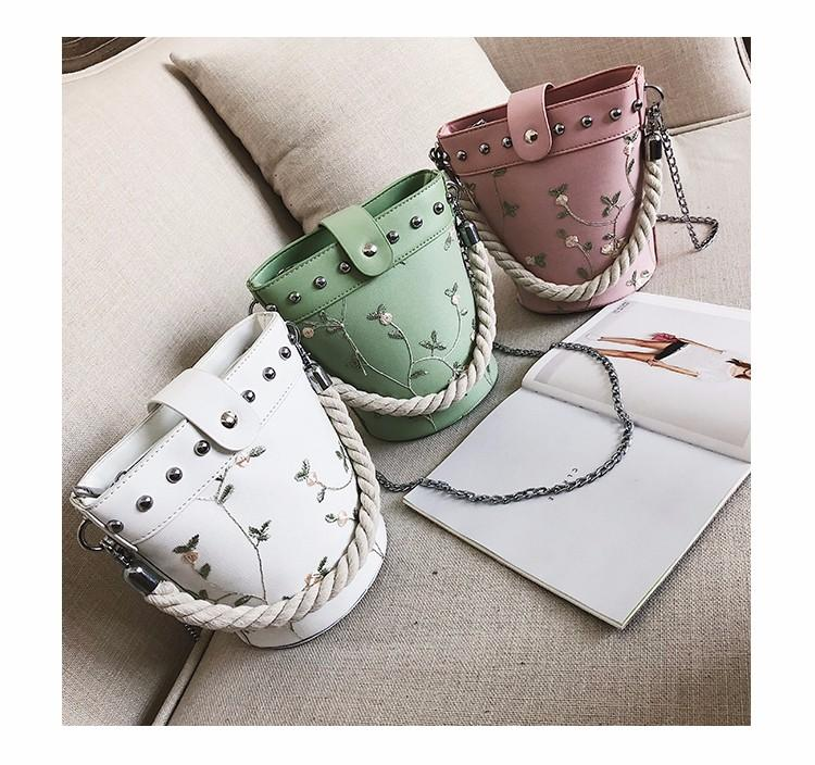 2018 PU Leather Women Messenger Bag Rivet Ladies Crossbody Bag Chain Trendy  Candy Color Small Bucket Shopping Handbag Luxury Shoulder Bag Fashion Cross  Body ... 14f9819af5