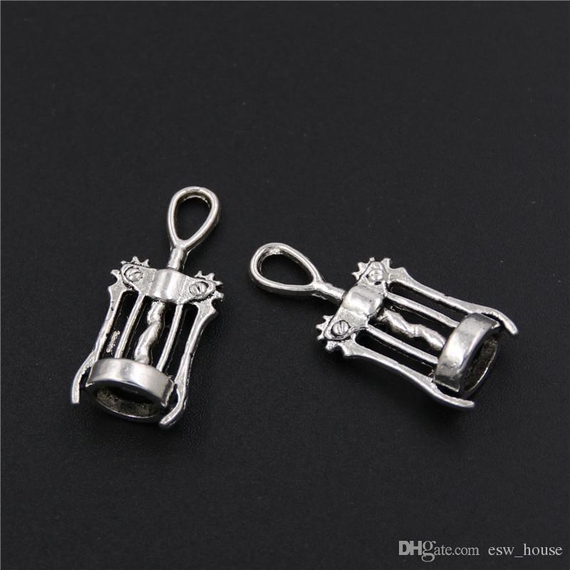 Tire-bouchon de vin ouvreur Charms / Antique Silver Pendentifs Bijoux DIY Fit Collier Bracelets Creative opener outils