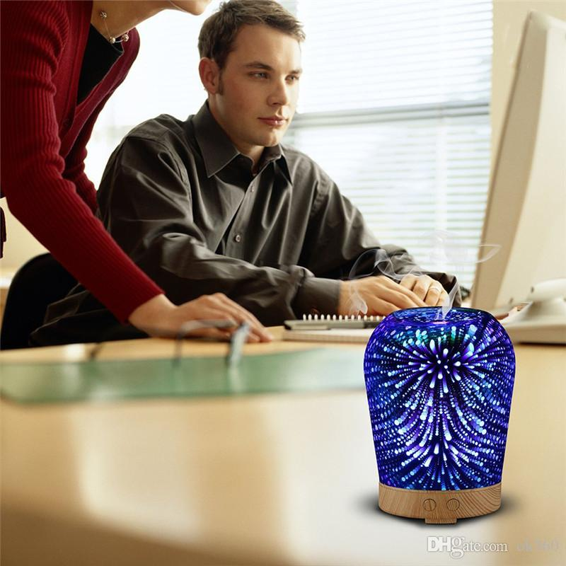 12W 100-240V 100ml 3D LED Night Light Essential Oil Aroma Diffuser Ultra-quiet Portable Ultrasonic Humidifier Aromatherapy