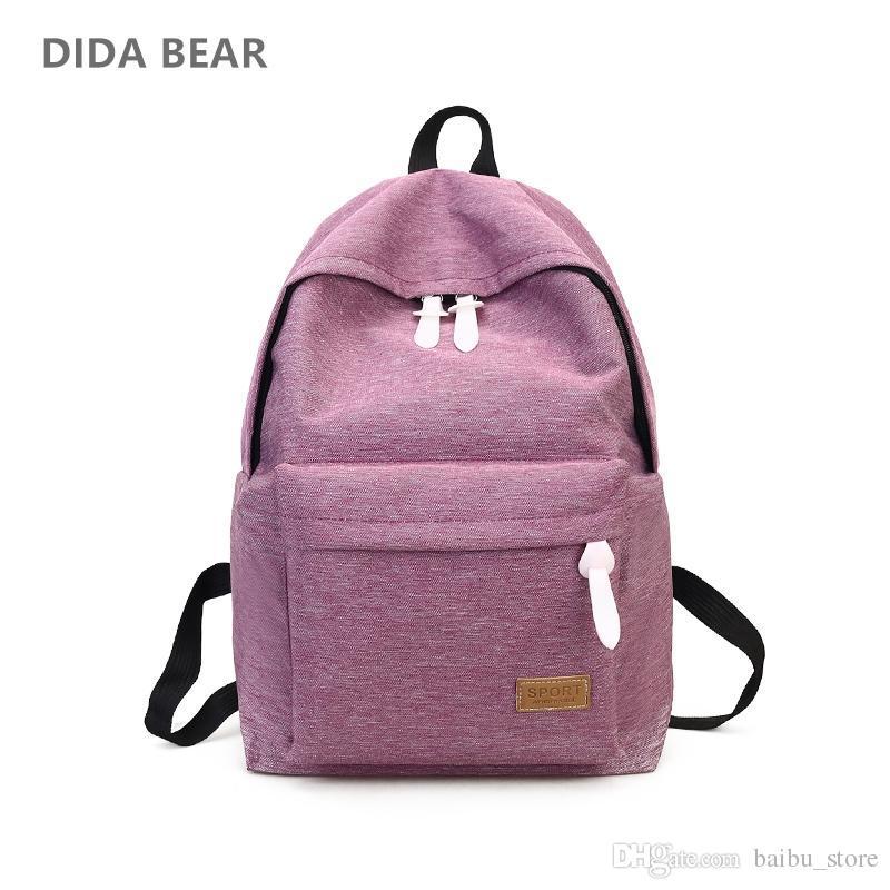 38228635a4 DIDA BEAR 2018 Women Canvas Backpacks Ladies Shoulder School Bag Rucksack  For Girls Travel Fashion Bag Bolsas Mochilas Sac A Dos Justice Backpacks  Camping ...