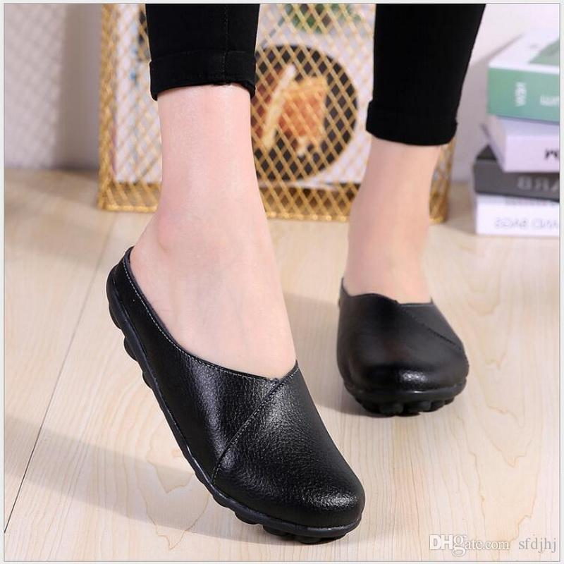 c1a89ed705e71 Summer Women Genuine leather Slippers Solid white Black Ladies Flat With  Slides Breathable Sandal Baotou Half Shoes