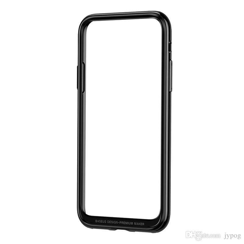Baseus For iPhone X Case Defender Platinum Metal Border Case iPhone Frame Armor with Soft Inner Bumper for iPhone X