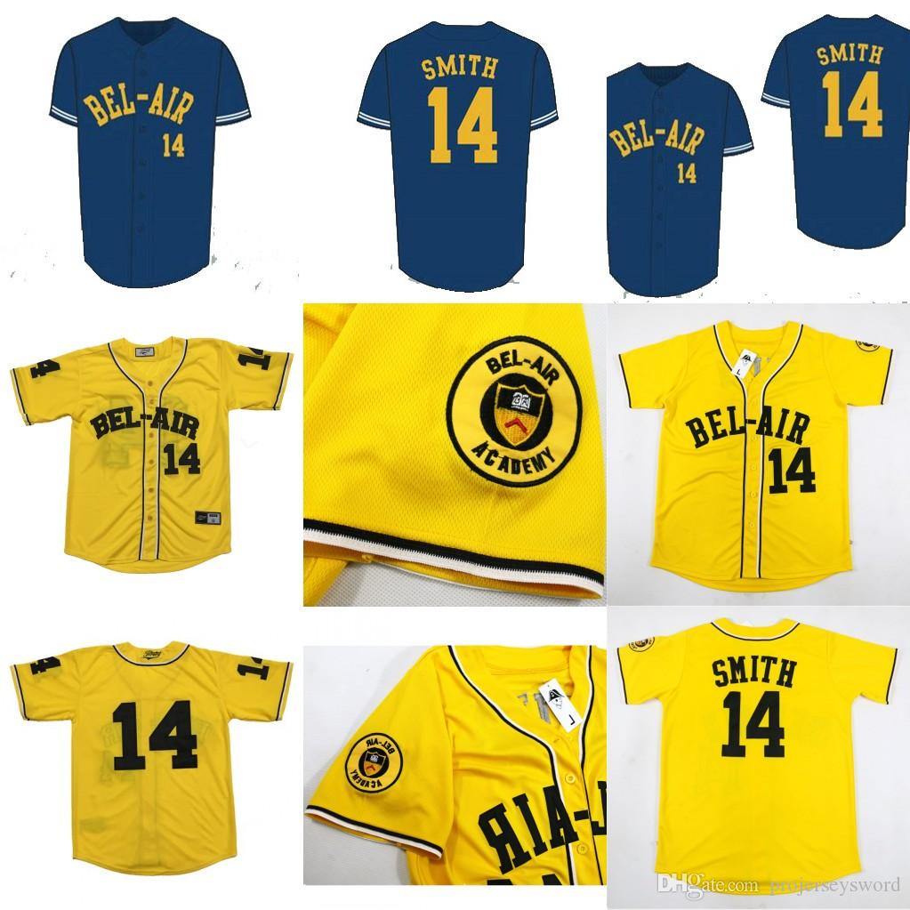 eef5783789b8 2019 Baseball Jersey Will Smith 14  Baseball Jersey Bel Air Academy  Embroidery Stitched Fresh Prince Yellow High Quality From Projerseysword