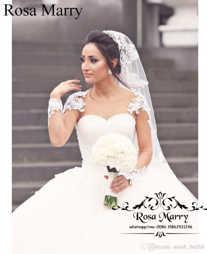 Vestido de fiesta de encaje de princesa Vestidos de novia de manga larga con cuentas Victorian Arabic Vestido De Novia Bellanaija Abayas Dubai Vestido de novia barato