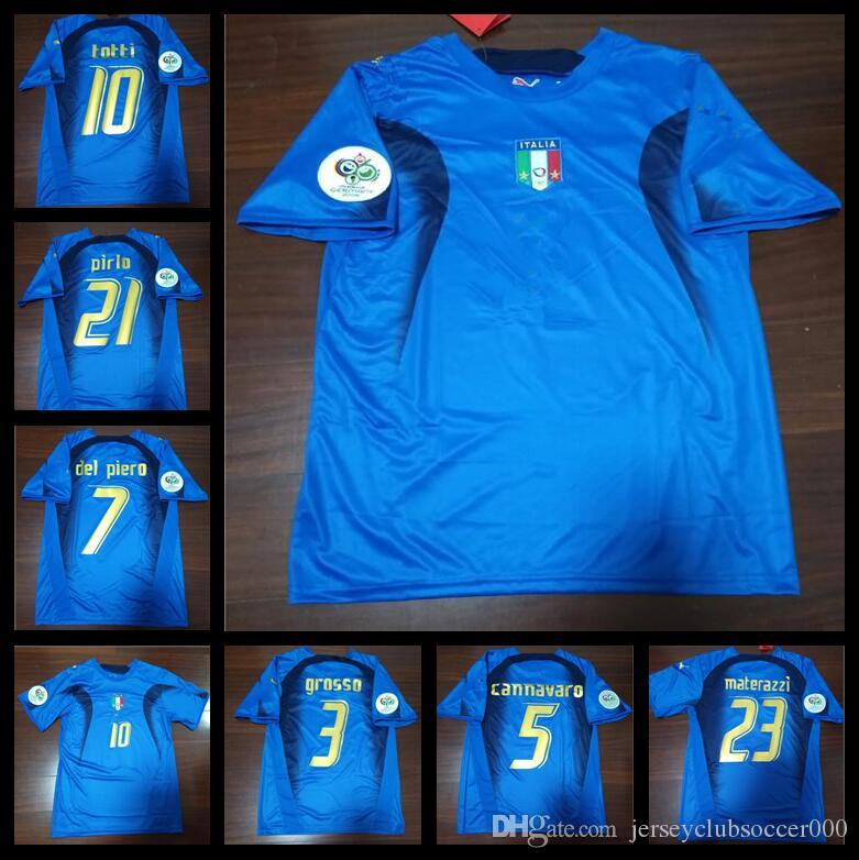 271fa25fcc5 2019 2006 World Cup Italy Retro Soccer Jersey Retro Pirlo Inzaghi Cannavaro  06 Football Shirts From Jerseyclubsoccer000