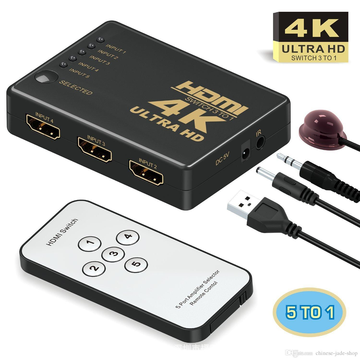 4K*2K 1080p Full HD 5 Port IN 1 3 Port IN 1 OUT HDMI Switch Switcher Hub with Remote Control Splitter Box for Apple HDTV PS4