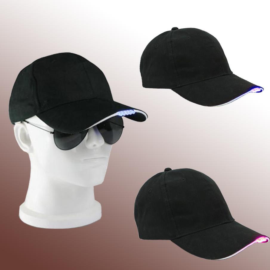 Casquettes de baseball à LED coton noir brillant Casquettes de boule de lumière LED brillent dans les chapeaux de Snapback réglables foncé Chapeaux de fête lumineux