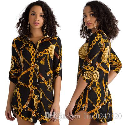 d07d1cd2 Free Ship Women Sexy Stand Collar Gold Chain Printed Shirt Dresses Slim Fit  Mini Dress Club Party Wear Dress Floral Dress For Women Black Dress On Sale  From ...